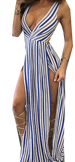 f9986a9502571 GAGA Women's Stripe Low Cut Summer Sexy Split Club Maxi Dress Blue XS