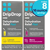 DripDrop ORS Electrolyte Hydration Powder Sticks, Lemon & Berry Flavor 2-Pack, Makes (8) 16oz Servings