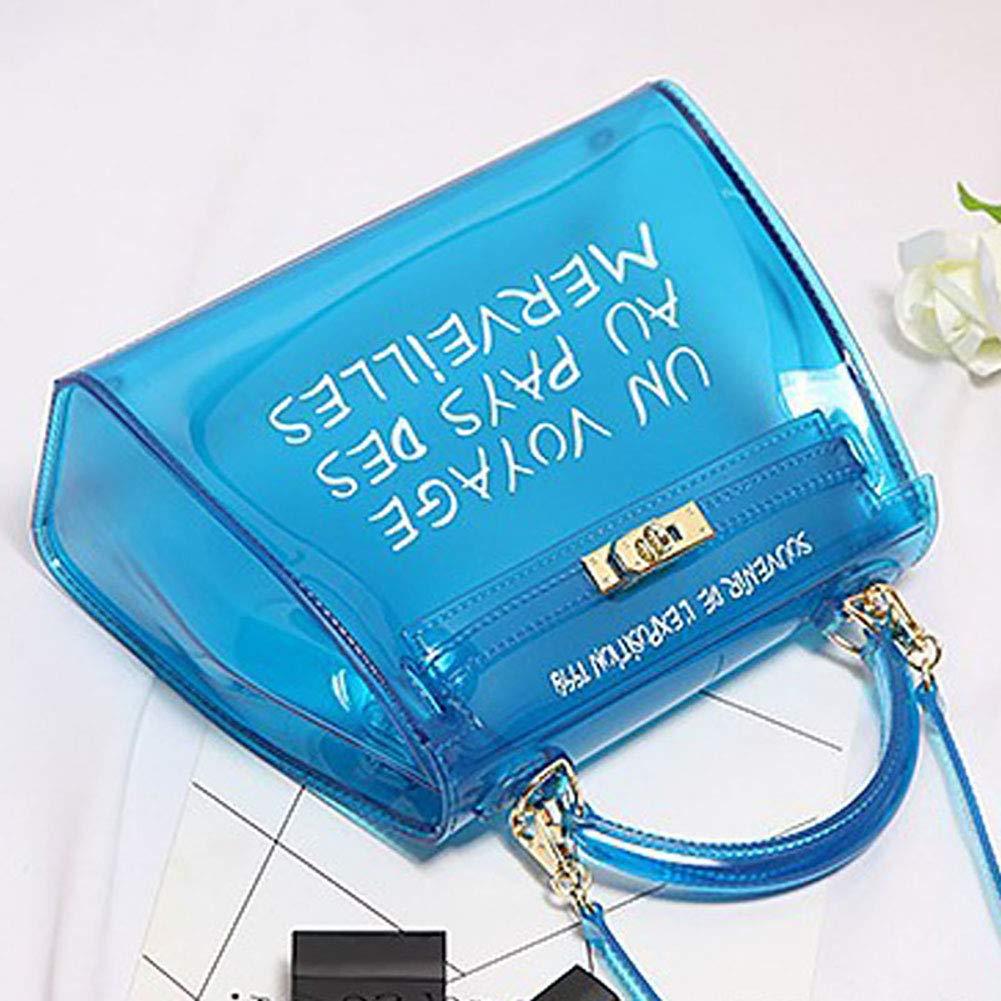 13da2613f7 Orange Weiyi0765 Sac à Main pour Femme en PVC Transparent avec bandoulière  et Sac à Main ...