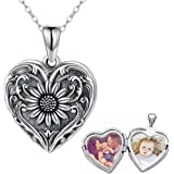 SOULMEET Sunflower Heart Shaped Locket Necklace That Holds Pictures Photo Keep Someone Near to You Sterling Silver Custom Jew
