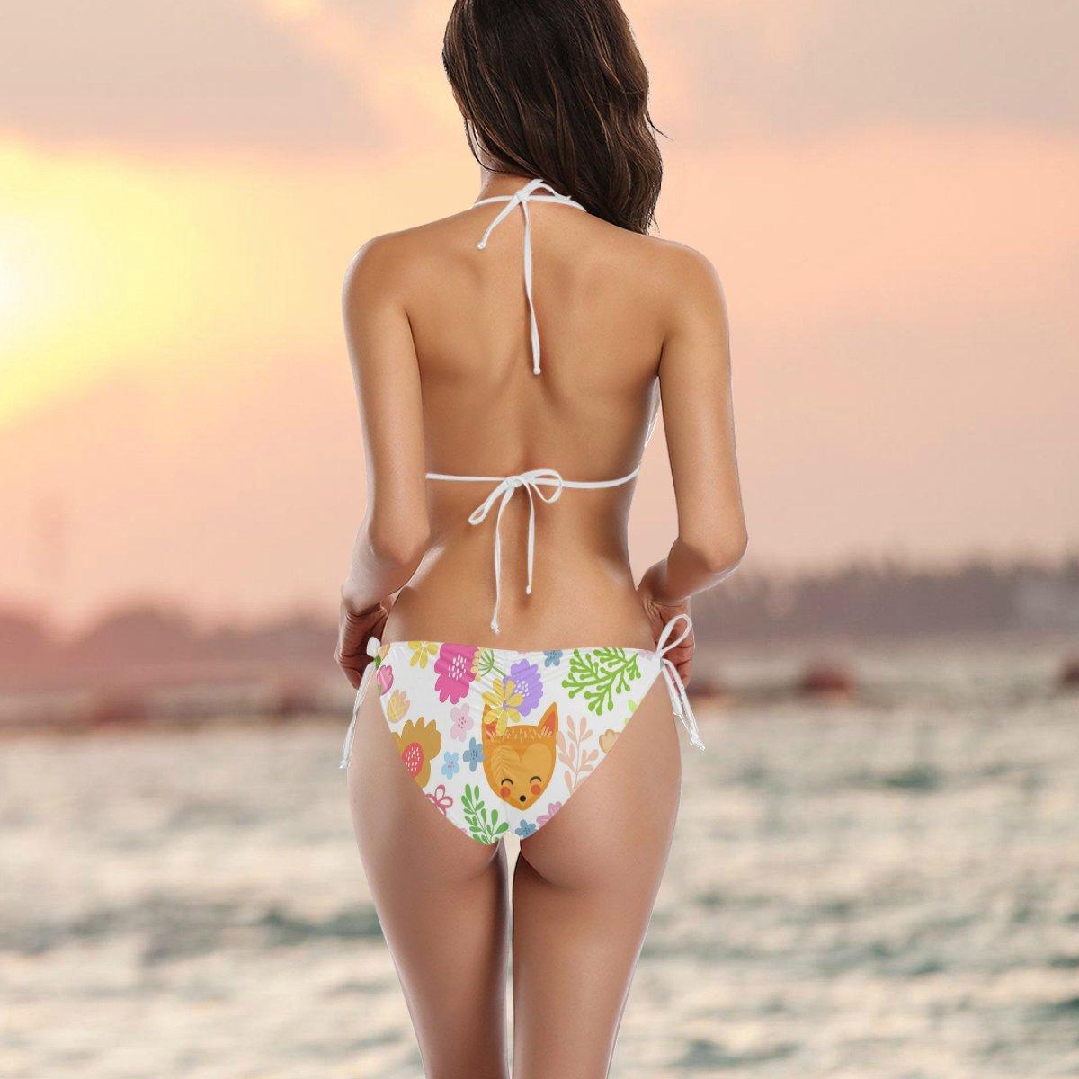 77b3901f165 Amazon.com  U LIFE Cute Rabbit Fox Bear Bikini Bra Sets Women Swimsuit  Swimwear Beachwear  Clothing