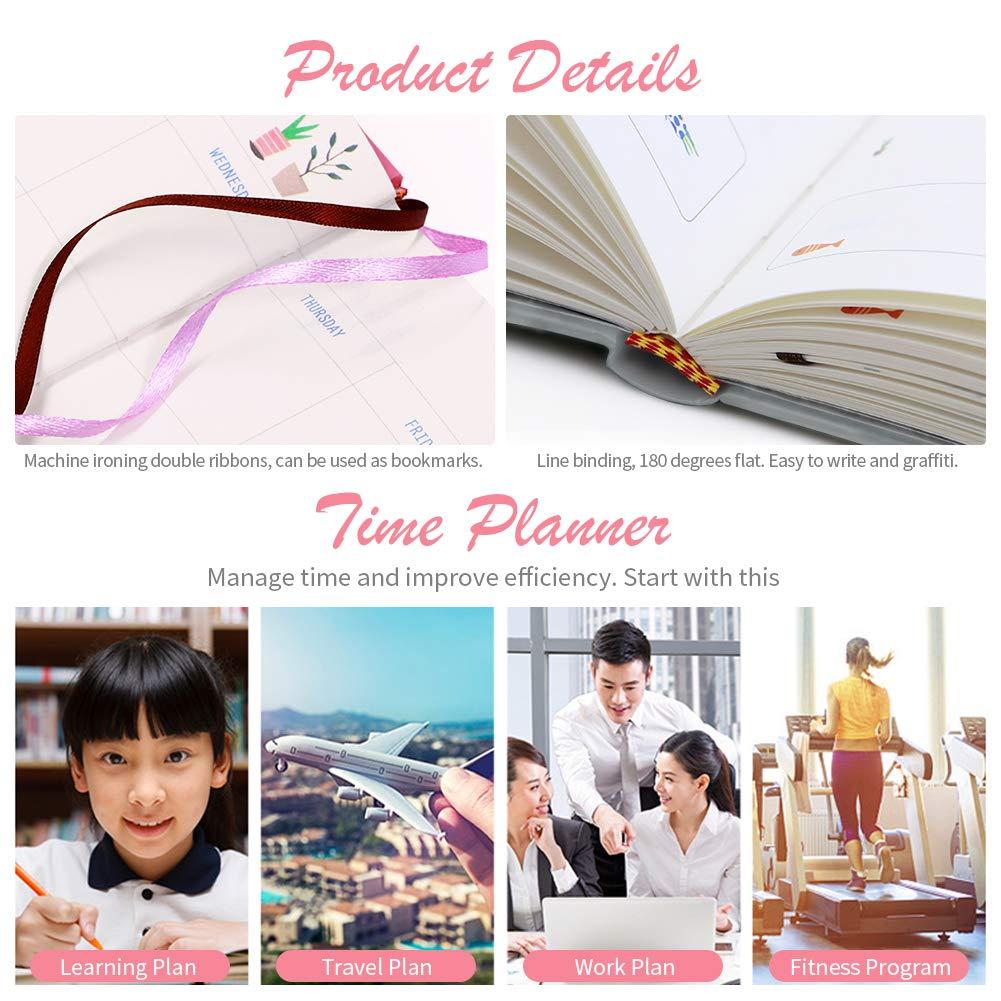 Gris, 13 x 18 cm ANTOPM Agenda Planificador diario//Planificador semanal Planificador Calendario Organizador mensual Agenda diaria Sin fecha para ni/ña//mujer//adultos