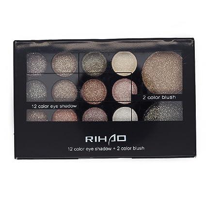 Rihao - Paleta de sombra de ojos, colores cálidos brillantes neutrales, sombra de ojos de 12 colores + colorete de 2 colores con cepillo y espejo