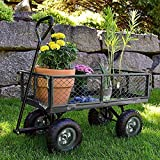 Garden Cart Yard Dump Cart Wagon Carrier Wheelbarrow 4 Air Tires With Pulling Wagon Heavy Duty Steel Frame,10″ Pneumatic Tires For Sale