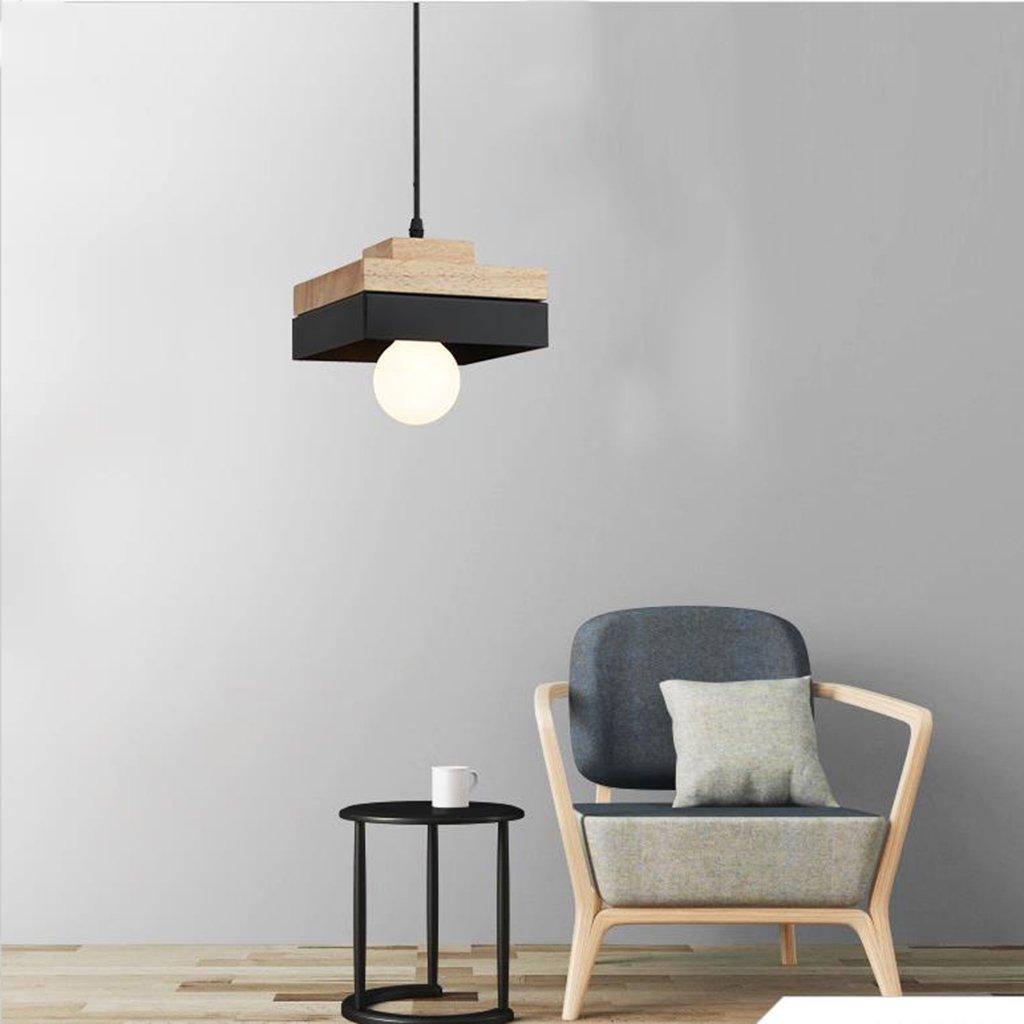 Modern pendant light Holz Pendelleuchte Moderne minimalistische Eisen Kronleuchter Schlafzimmer Wohnzimmer Esszimmer Studie Lampe Haushalts Kronleuchter (Farbe   B-Platz)