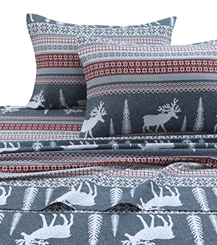 Tribeca Living WIRE170SHEETQU Winter Reindeer Flannel Deep Pocket Sheet Set, Queen, ()