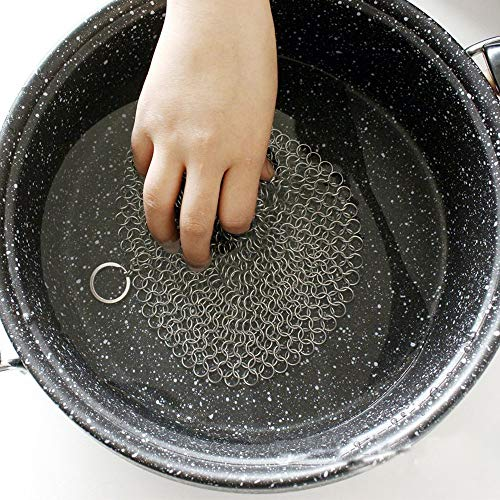 Yu2d  Stainless Steel 316 Cast Iron Cleaner Brush Scrubber for Cast Iron Pan Cast A(Silver) ()