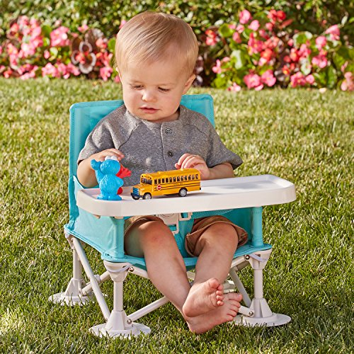 hiccapop Omniboost Travel Booster Seat with Tray for Baby   Folding Portable High Chair for Eating, Camping, Beach, Lawn, Grandma's   Tip-Free Design Straps to Kitchen Chairs - Go-Anywhere High Chair ()