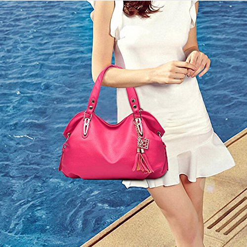 Large Shoulder Bags Bags Leather PU Tote Hobo Women Handbags Top Rose Handle Purse Red pqSCf