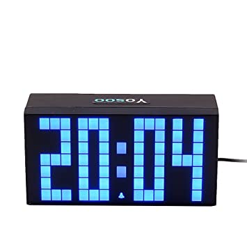 Yosoo 4 Dígitos Versión Digit Jumbo LED Snooze Pared Calendario de Escritorio Alarma Reloj Digital Electronic Time Block(Azul): Amazon.es: Hogar
