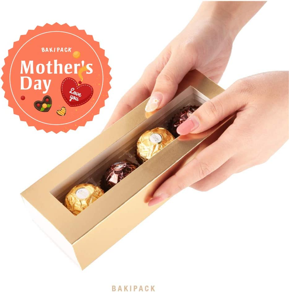 Gold 20 PCS /… Pull Out Packing with Clear Window Sleeves BAKIPACK Truffle Boxes, Chocolate Boxes, Candy Box Packaging with 4-Piece Plastics Tray(Tray Size with 5.75x1.25 Inches