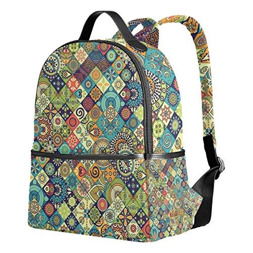 WIHVE School Backpacks Vintage Marble Mexican Ceramic Tile Medallion School Shoulder Bag Bookbag