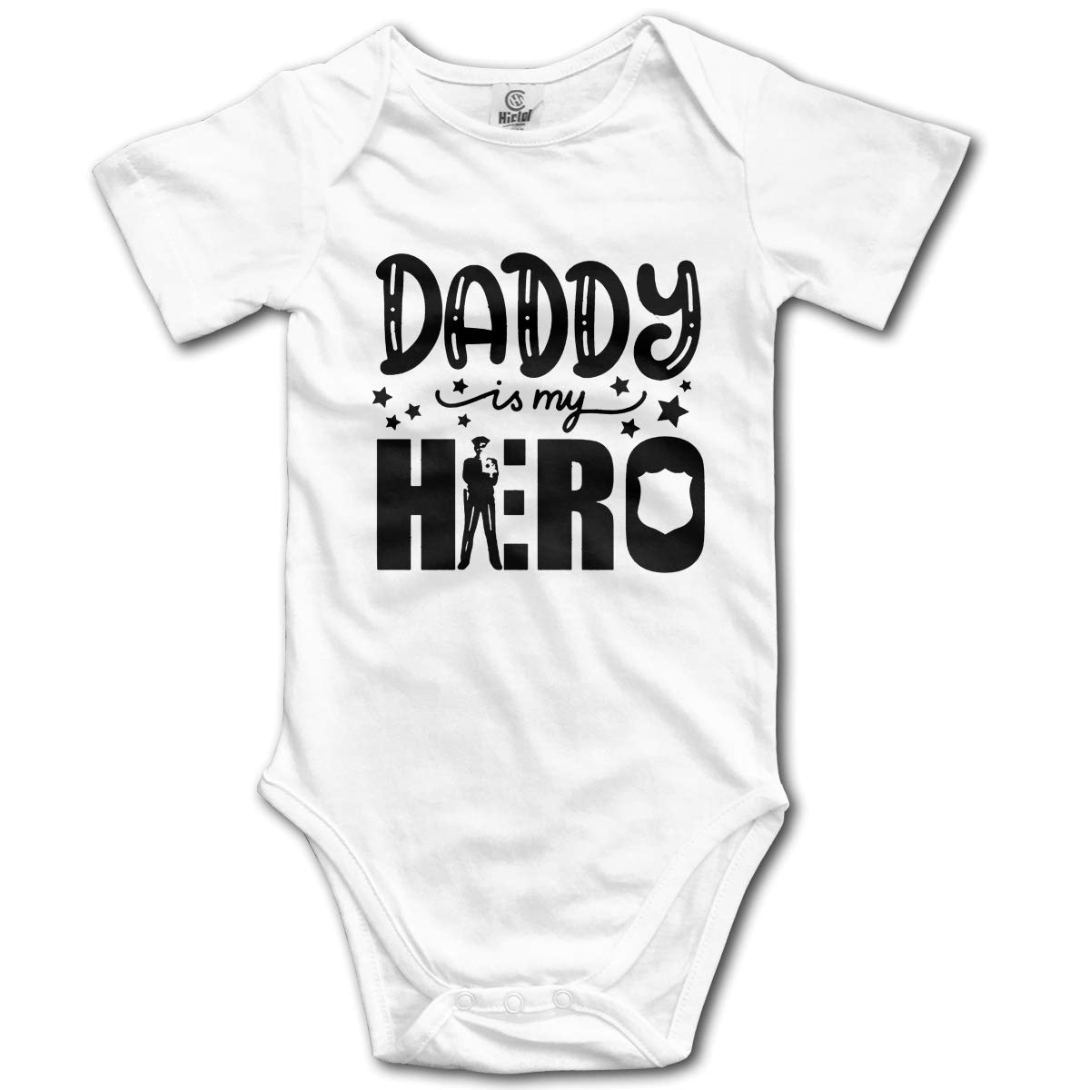 FAFU/&SKY Daddy is My Hero Police Man Dad Infant Baby Romper Summer Short Sleeve Onesie Funny Gift