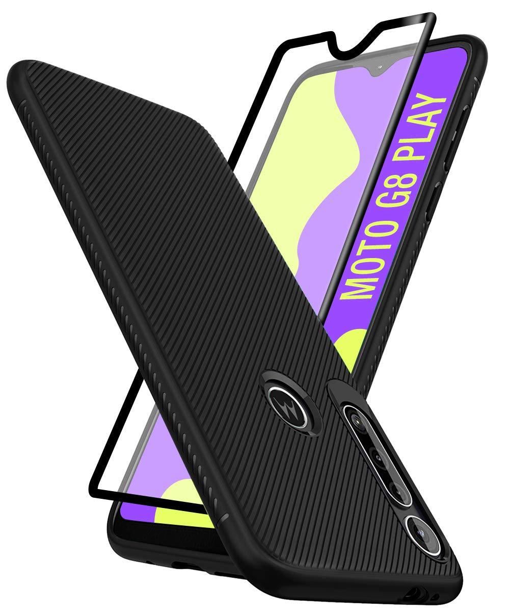 Funda + Vidrio Templado Motorola G8 Play/one Macro Negro