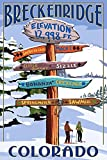 Breckenridge, Colorado - Ski Run Signpost (16x24 Giclee Gallery Print, Wall Decor Travel Poster)
