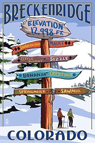 Breckenridge, Colorado - Ski Run Destinations Sign (9x12 Art Print, Wall Decor Travel Poster)