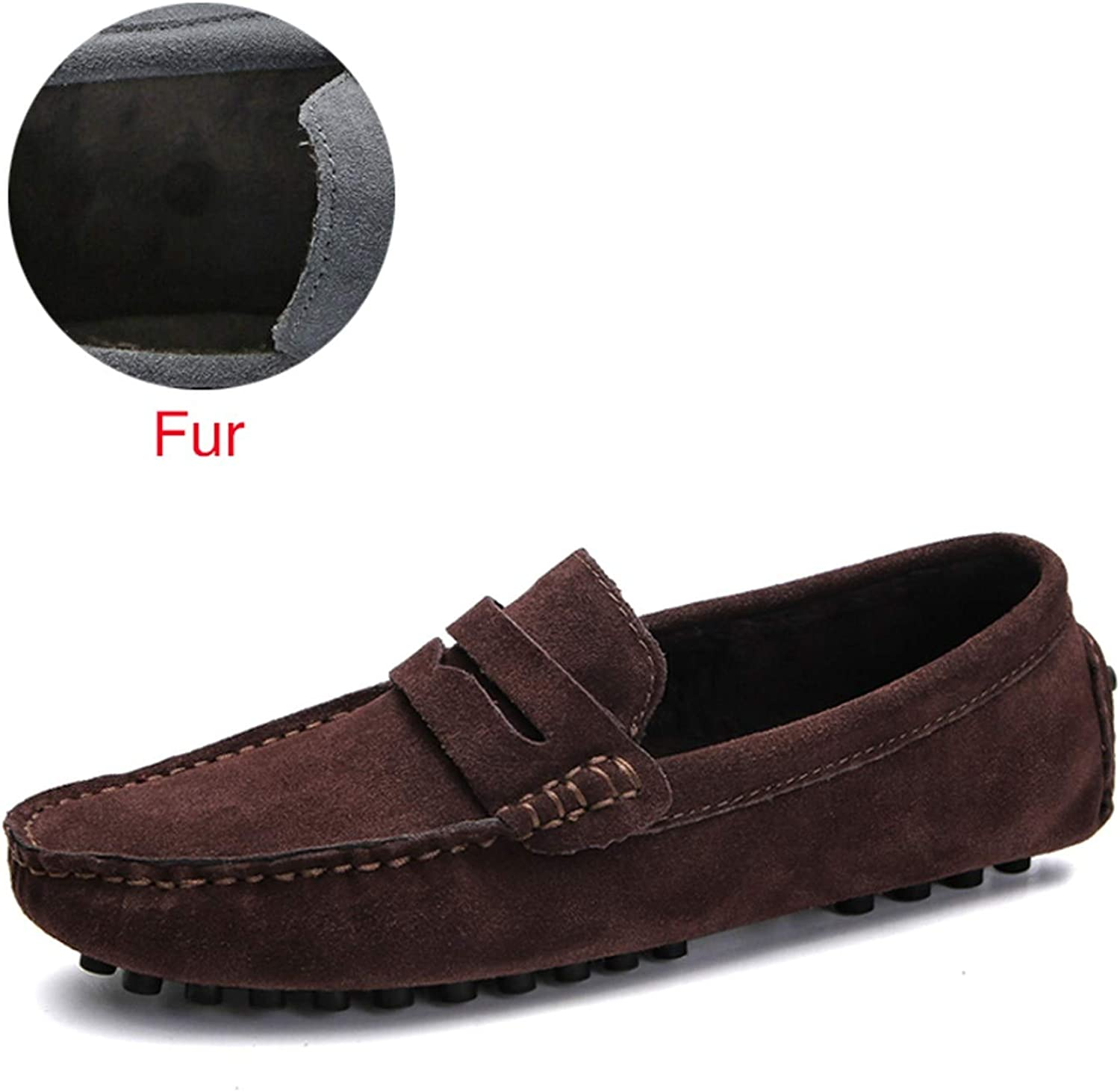 Soft Moccasins Men Loafers Genuine Leather Shoes Men Flats Gommino Driving Shoes,02 Fur Brown,7
