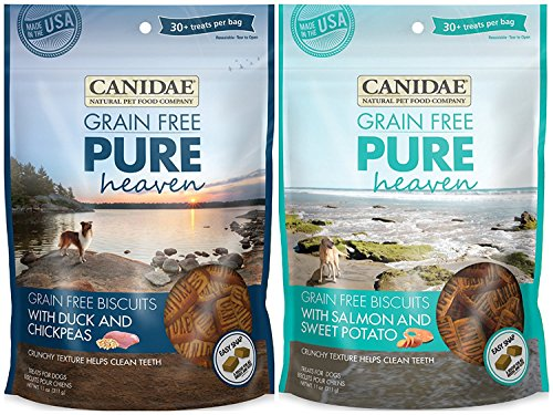 Canidae Grain Free Pure Heaven Dog Biscuits 2 Flavor Variety Bundle: (1) Canidae Grain Free Pure Heaven Dog Biscuits with Salmon and Sweet Potato and (1) Canidae Grain Free Pure Heaven Dog Biscuits with Duck and Chickpeas, 11 Ounces Each (2 Bags Total) ()