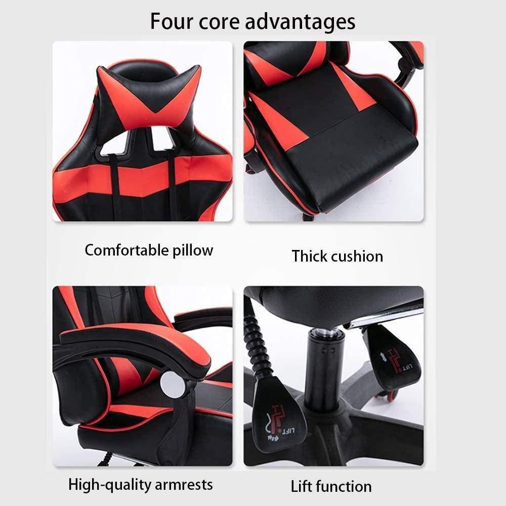 E-sportstol, internetcafé spelstol svamp med hög täthet kontorsstol infällbar fotstöd datorstol fåtölj (färg: Stålstol ben) Nylon Chair Legs