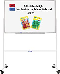 """36""""x24"""" Mobile Whiteboard on Stand for Children - Double-Sided Rolling Whiteboard Magnetic Dry Erase Board on Wheels for Home, Office & School"""