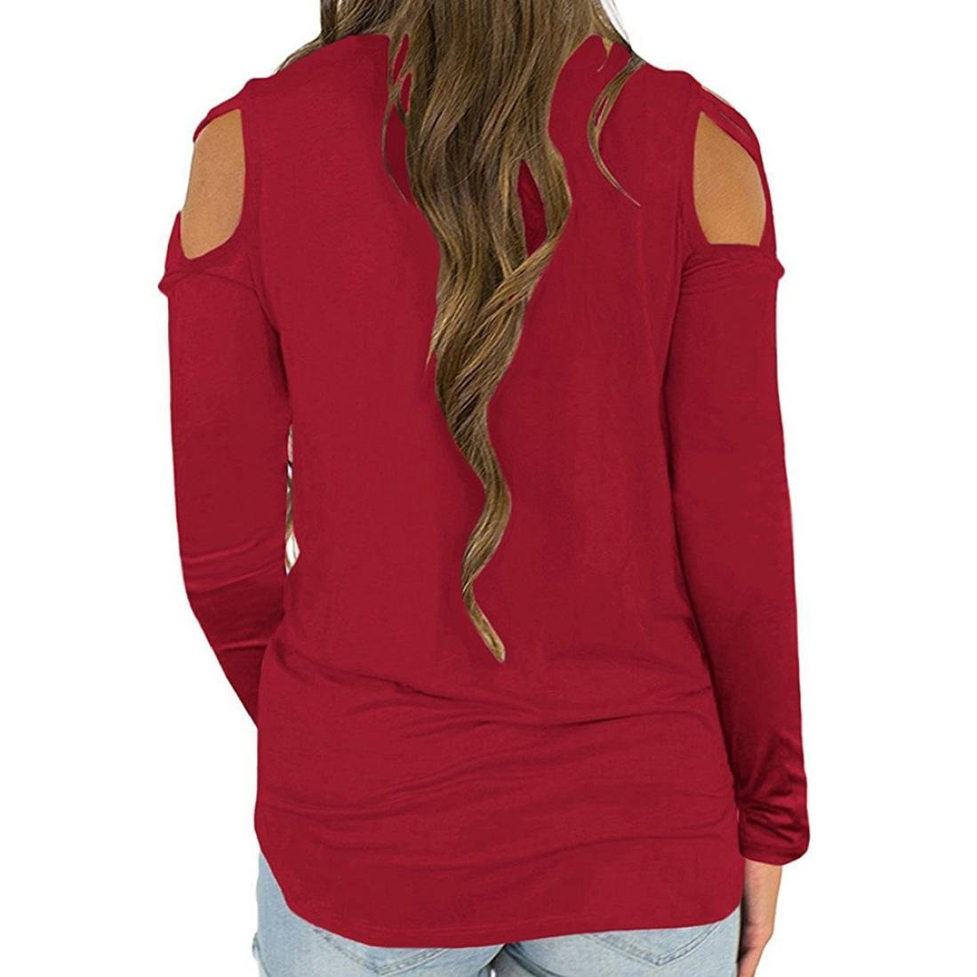 Amazon.com: Teresamoon Cold Shoulder Long Sleeve T Shirts O Neck Tops Casual Criss Cross Tunic Blouse: Arts, Crafts & Sewing