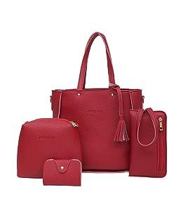 Bolso Mochila Mujer Impermeable,Bolso Bandolera Mujer Piel Grande,Bolso Cuatro Bolsos Bandolera Para Cuatro Piezas (Rojo)