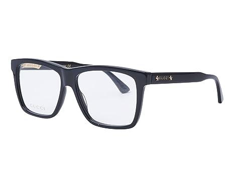 4b98719e2eb Amazon.com  Gucci GG 0268O 001 Black Plastic Square Eyeglasses 55mm ...
