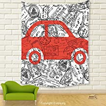 Vipsung House Decor Tapestry_Cartoon Little Car With Travel Themed Passport Stamps Background Abstract Design Red Black And White_Wall Hanging For Bedroom Living Room Dorm