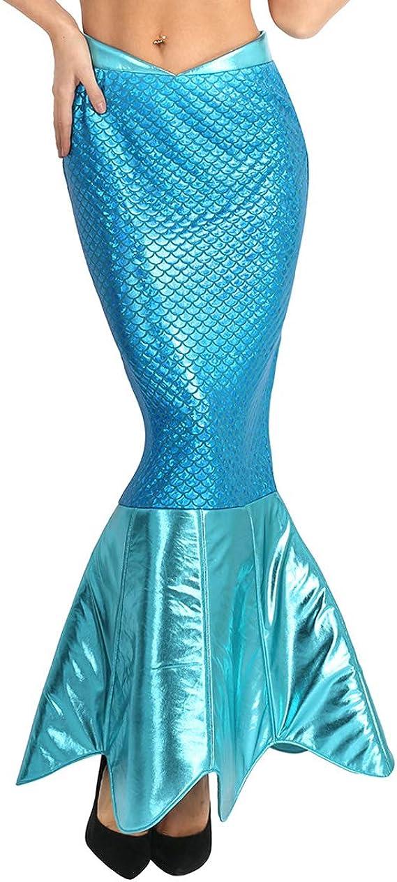 inhzoy Disfraz Cola de Sirena para Mujer Falda Larga Escamas de ...