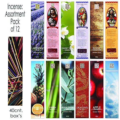 Aromatherapy Hosley's 480 Pack INCENSE LAVENDER, EUCALYPTUS MINT, SANDALWOOD, SWEET PEA JASMINE, TROPICAL MIST, APPLE CINNAMON, FRESH BAMBOO, DRAGON'S BLOOD, MYRRH, LAVENDER, LILAC, FRANK-INCENSE O3 - incensecentral.us