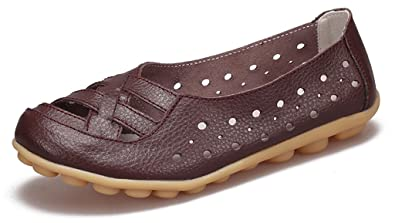 af10e07c50f Image Unavailable. Image not available for. Color  Labato Women s Leather  Casual Cut Out Loafers ...