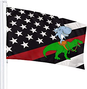 Thin Red Line USA Flag Great White Shark Riding A T Rex Flag 3X5 Fit Durable for Patio Yard Garden Lawn Cute Funny Individuality Home Dorm Room Outdoor Decor FWelcome Sign for Festival