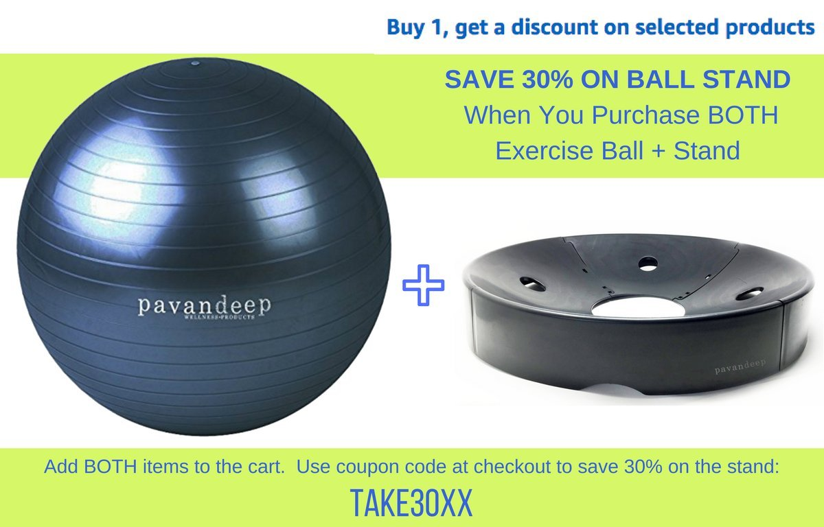 Exercise Stability Ball By Pavandeep 2000lbs Anti Burst Balls for Fitness Pilates Yoga Gym, Use As Desk Chair, Pump Included, Phthalate Free