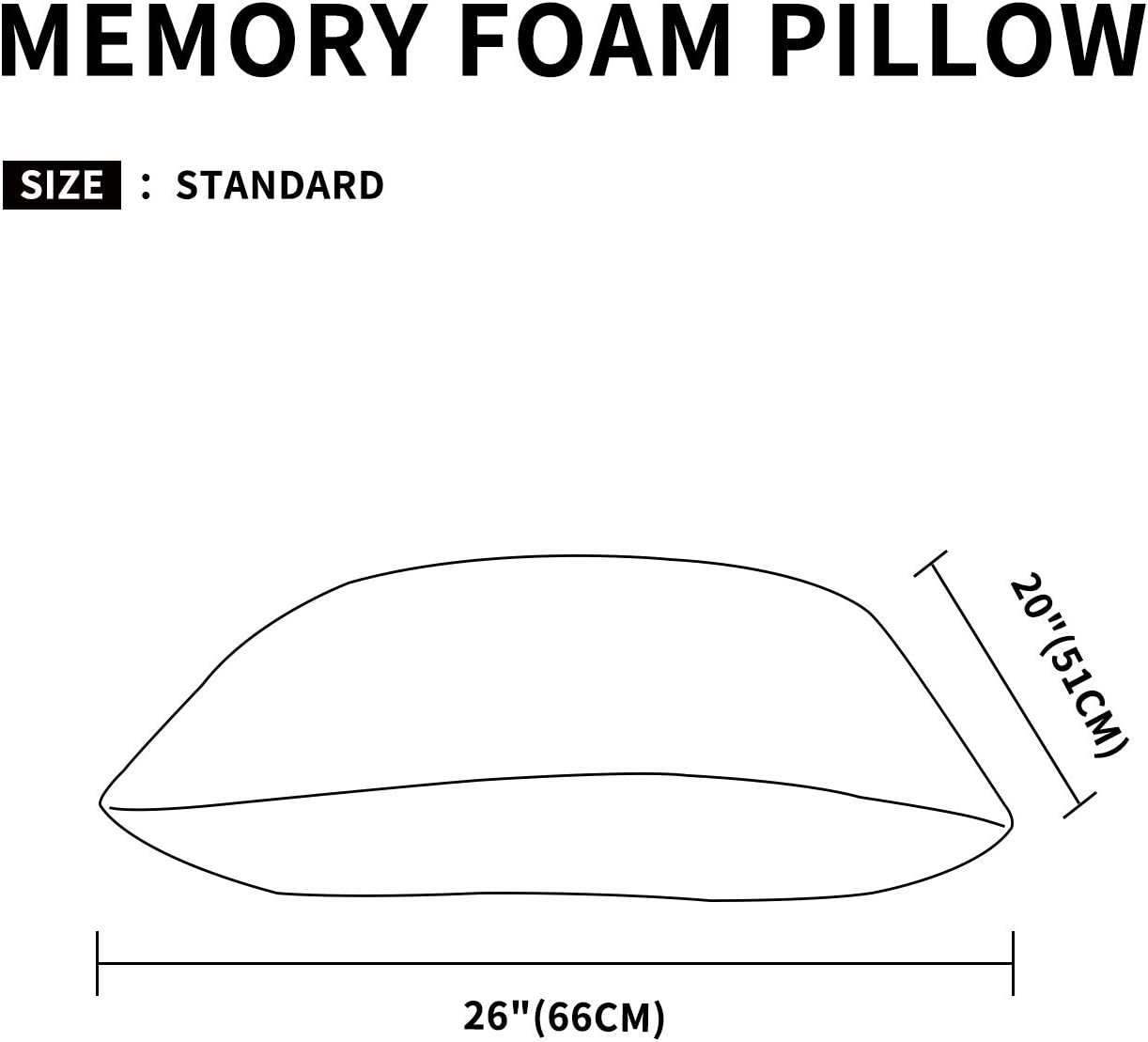 Easy-Going Bamboo Shredded Memory Foam Combination Pillow for Sleeping Sponge Pillow Breathable Washable Removable Sleep Pillow for Back and Side Sleeper 20x36 in Oversize Standard