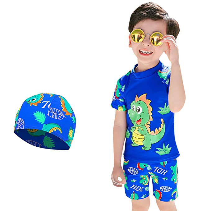 f81b9b5f8c Whitegeese Kids Baby Boy Short Sleeve Dinosaur Print Tops+ Pants + Hat Pool  Beach Swimwear Blue