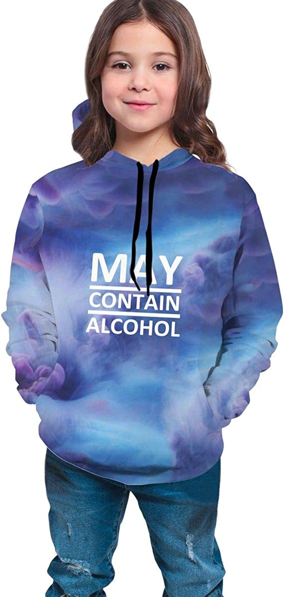 May Contain Alcohol Hip-Hop Sweatshirts Pullover Winter Autumn Tops for Teen Girls Boys