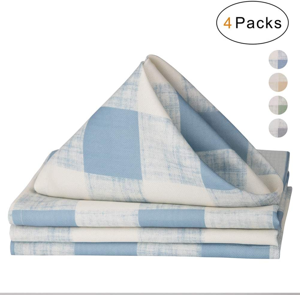 Soft Napkins 17 inch Set of 4 Beige for Family Dinners VCVCOO Buffalo Plaid Table Napkin,100/% Polyester Fabric Dinner Napkins Cloth Washable BBQs Picnic and Holidays