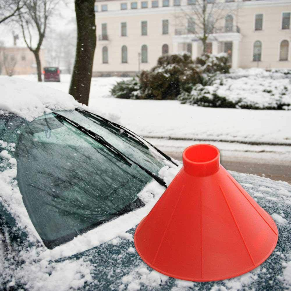 FOONEE Cone-Shaped Car Snow Ice Scraper, 2 in 1 Car Windshield Snow Removal Car Window Ice Scraping Snow Shovel Tool for Outdoor Camping Activities