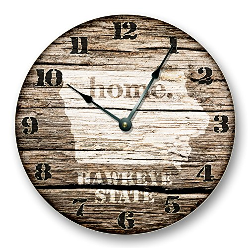 IOWA STATE HOMELAND CLOCK - HAWKEYE STATE - Large 10.5