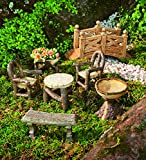 Plow & Hearth Miniature Garden Woodland Outdoor Fairy Furniture Set with Chairs, Table, Bench, Birdbath, Planter and Foot Bridge- Resin - Carved Wood Finish - Set of 7 Fairy Furniture Pieces