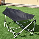 Giantex Portable Hammock with Stand, 94.5'x31.5'x29' Folding Lounge Camping Bed with Carry Bag for Camping Outdoor Patio Yard (Black)