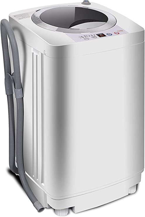 10 programs 8 Water Level Selections with LED Display Full-Automatic Washing Machine Portable Compact 8lbs Top Load Laundry Washer//Spinner w//Drain Pump