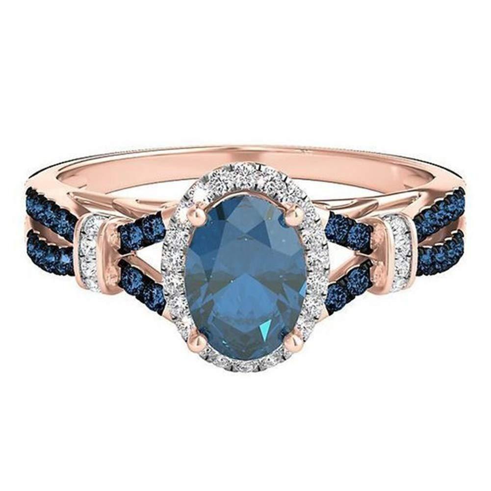 Slendima Exquisite Oval Shiny Rhinestone Engagement Bridal Ring Women Fashion Wedding Jewelry Gift Blue US 10