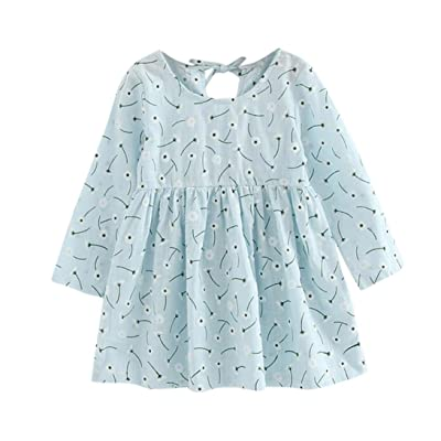 3-7 Years Old Odeer Toddler Baby Girls Kids Autumn Clothes Floral Long Sleeve Princess Party Dress