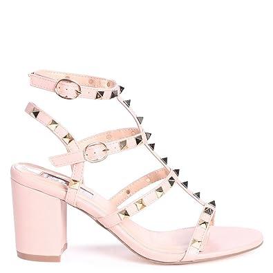 fba5f3b5def Linzi Tessa - Nude Studded Block Heeled Sandal  Amazon.co.uk  Shoes   Bags