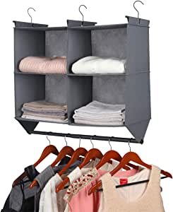 MAX Houser Hanging Closet Organizer, 4 Section Hanging Closet Organizer with Garment Rod,Collapsible Storage Shelves with 3 Metal Hooks, Grey