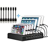 Kisreal USB Charging Station Smart 7-Port Desktop Charging Stand Organizer Compatible with iPhone, iPad, Tablets and Other USB-Charged Devices (7)
