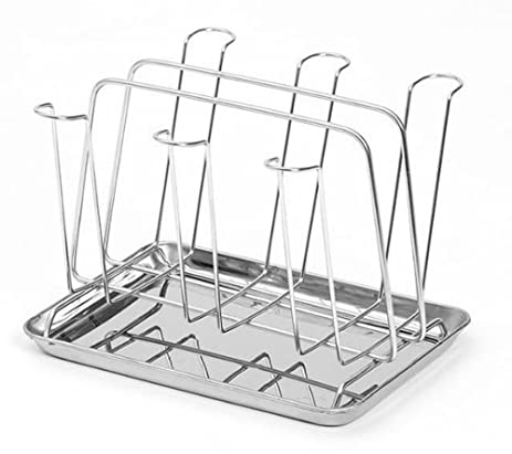Stainless Steel Glass Cup Rack Water Mug Draining Drying Organizer Drain  Holder Stand 6 Cups Home