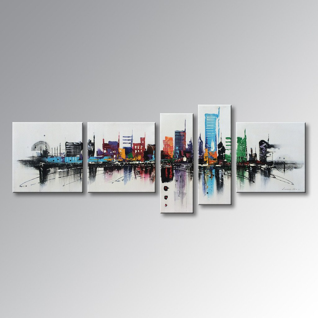 Winpeak Art Huge Modern Contemporary Cityscape Artwork Hand Painted Abstract Pictures Stretched Wood Framed Oil Paintings on Canvas Wall Art Décor for Living Room Home Decoration 84''W x 40''H by Winpeak Art