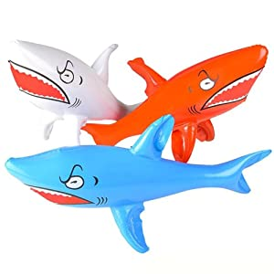 """Kicko Inflatable Shark Kids Pool Toy - 3 Pieces Assorted Colors 24"""" Animal Display - Great for Summer Beach Games, Bath Time, Party Decoration at Home, Water Park, Hotel"""